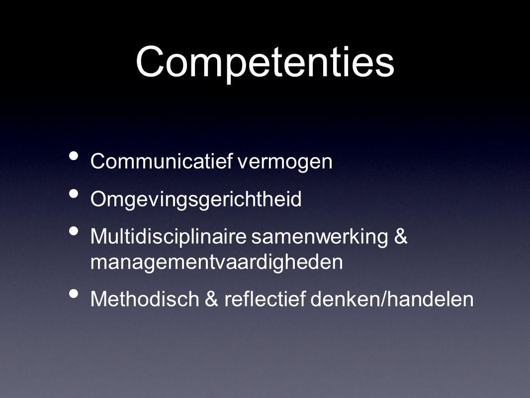 Communicatief vermogen Omgevingsgerichtheid Multidisciplinaire samenwerking & managementvaardigheden Methodisch & reflectief denken/handelen