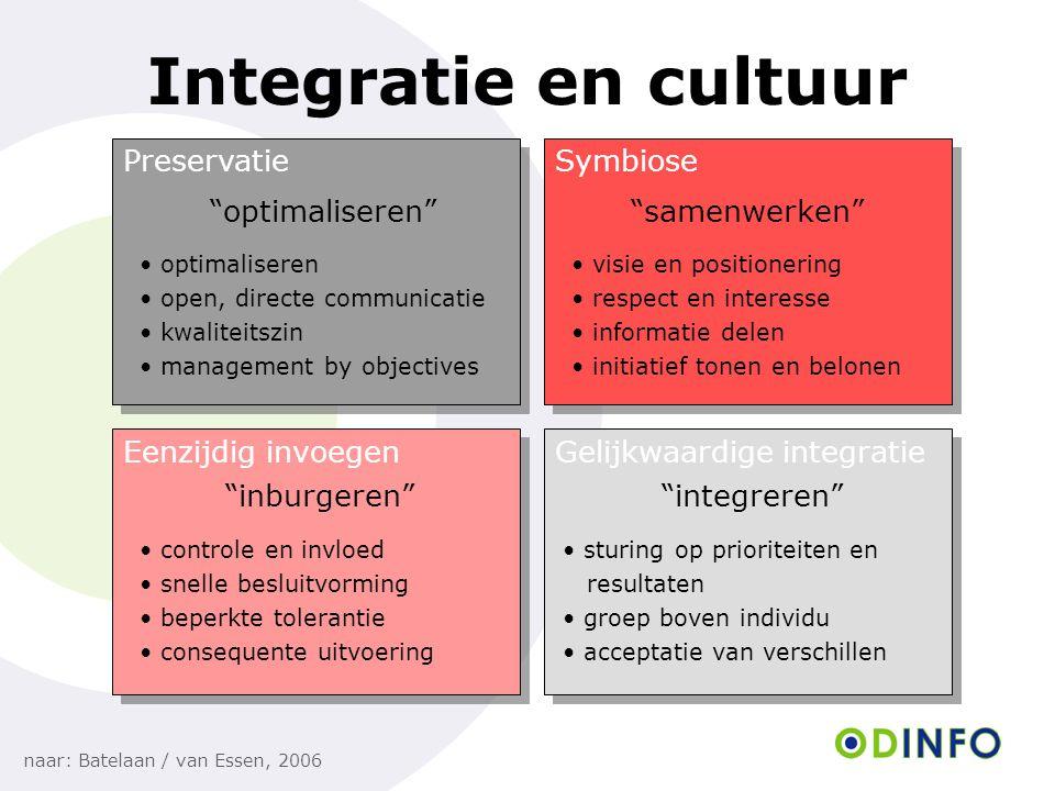 """Integratie en cultuur naar: Batelaan / van Essen, 2006 PreservatieSymbiose Eenzijdig invoegenGelijkwaardige integratie """"optimaliseren""""""""samenwerken"""" """"i"""