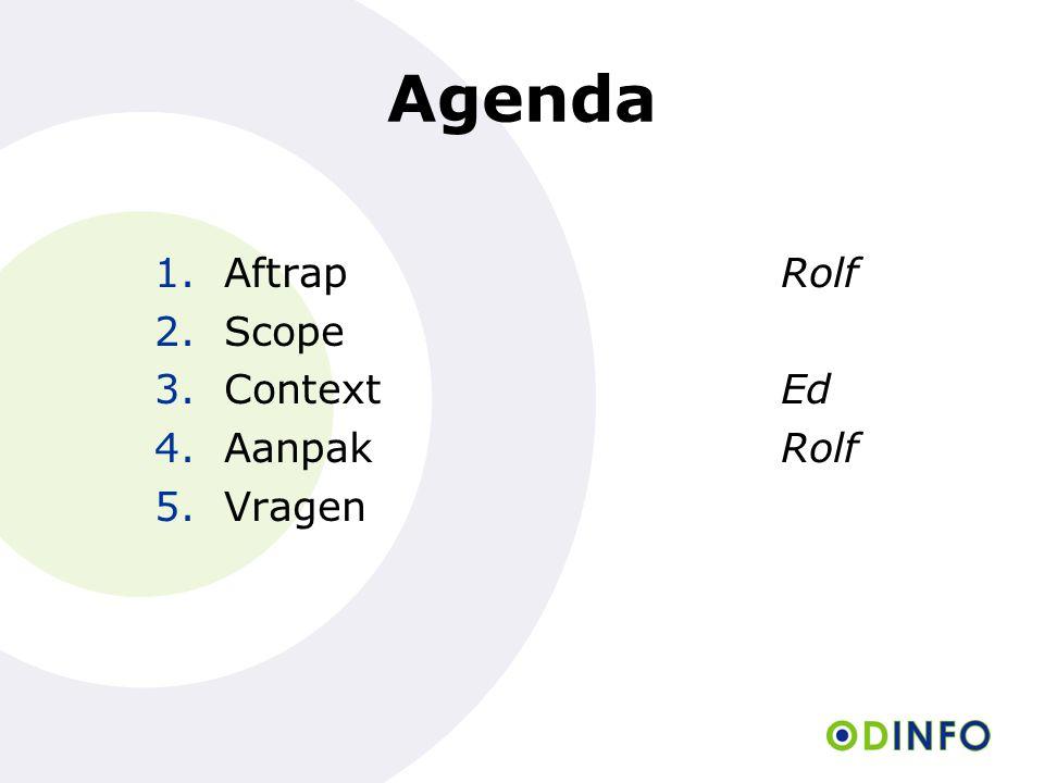 Agenda 1.Aftrap Rolf 2.Scope 3.ContextEd 4.AanpakRolf 5.Vragen