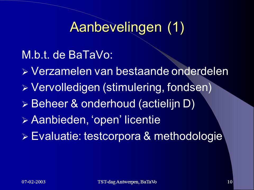 07-02-2003TST-dag Antwerpen, BaTaVo10 Aanbevelingen (1) M.b.t.