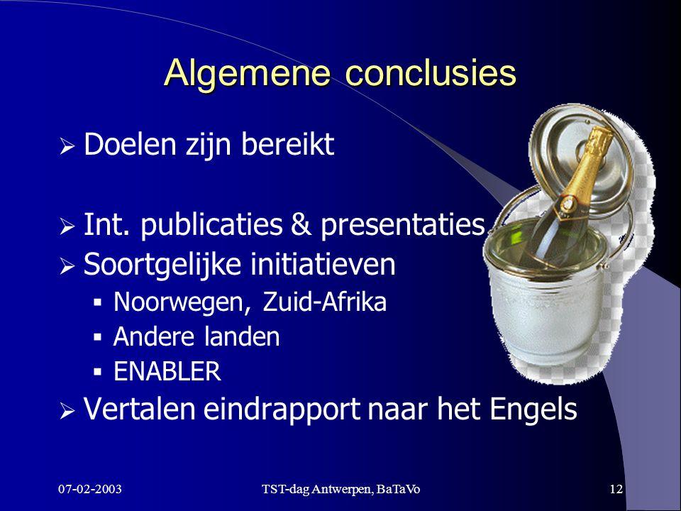07-02-2003TST-dag Antwerpen, BaTaVo12 Algemene conclusies  Doelen zijn bereikt  Int.