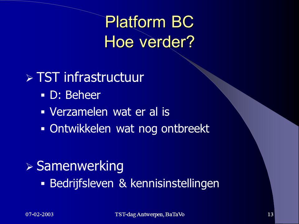 07-02-2003TST-dag Antwerpen, BaTaVo13 Platform BC Hoe verder.