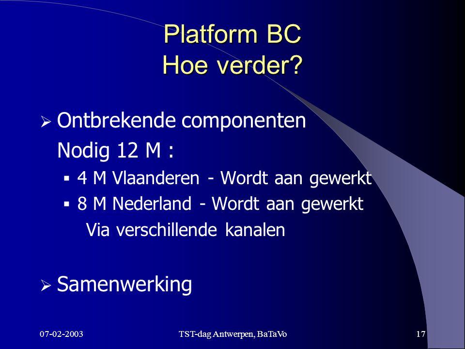 07-02-2003TST-dag Antwerpen, BaTaVo17 Platform BC Hoe verder.