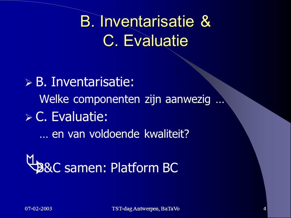 07-02-2003TST-dag Antwerpen, BaTaVo4 B. Inventarisatie & C.