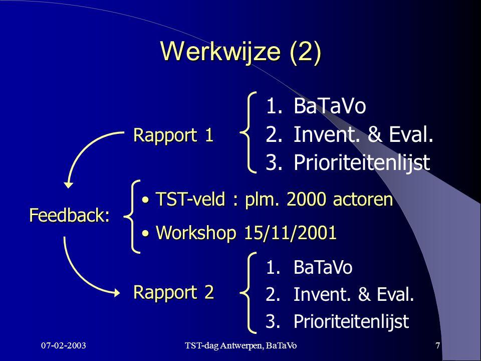 07-02-2003TST-dag Antwerpen, BaTaVo7 Werkwijze (2) 1.BaTaVo 2.Invent.