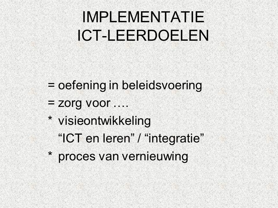 """IMPLEMENTATIE ICT-LEERDOELEN =oefening in beleidsvoering =zorg voor …. *visieontwikkeling """"ICT en leren"""" / """"integratie"""" *proces van vernieuwing"""
