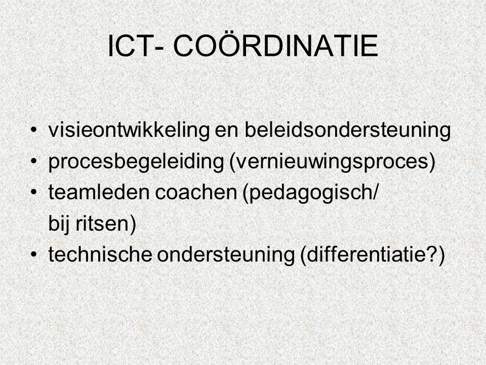 ICT- COÖRDINATIE visieontwikkeling en beleidsondersteuning procesbegeleiding (vernieuwingsproces) teamleden coachen (pedagogisch/ bij ritsen) technische ondersteuning (differentiatie?)
