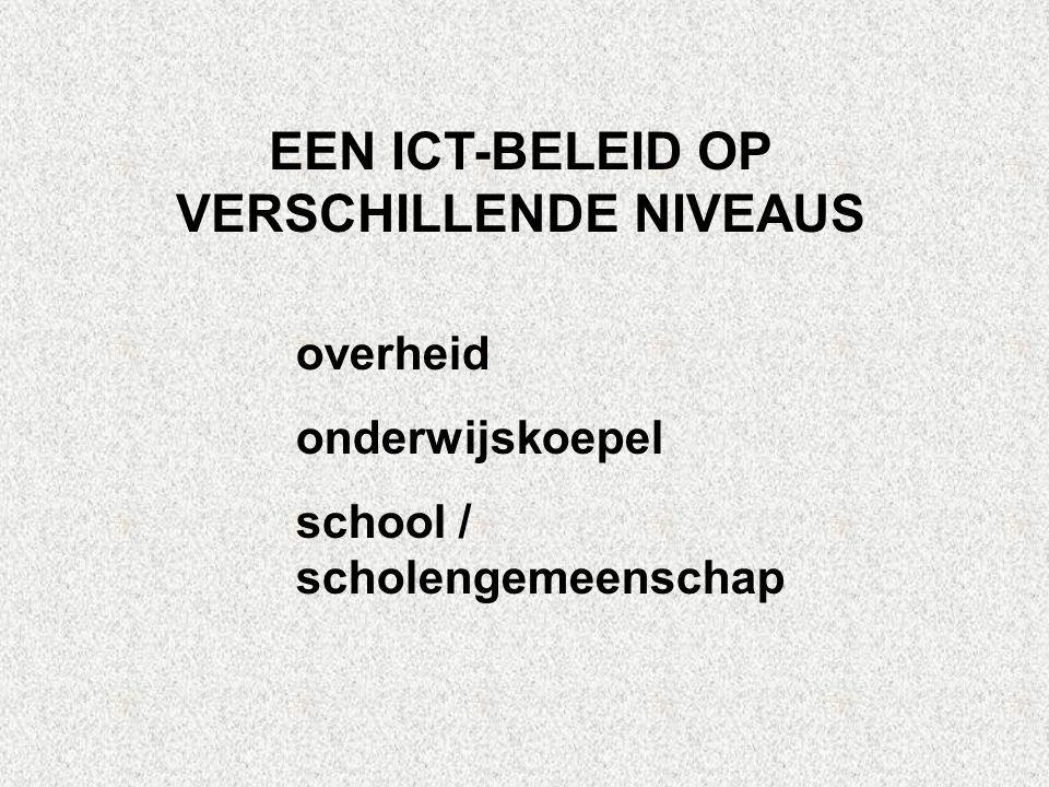 EEN ICT-BELEID OP VERSCHILLENDE NIVEAUS overheid onderwijskoepel school / scholengemeenschap