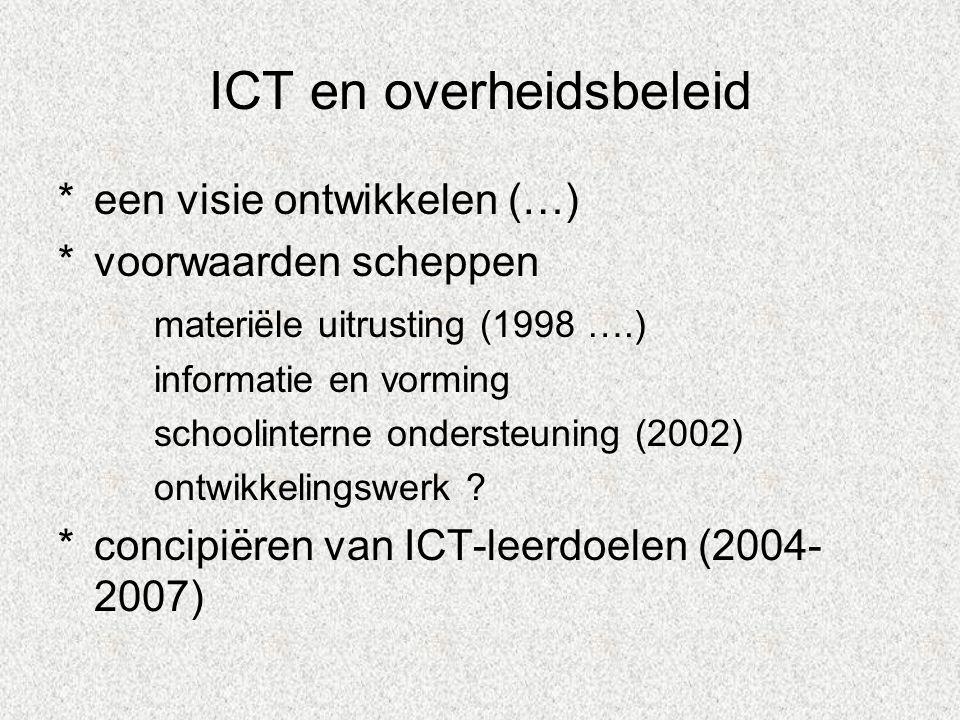 ICT en overheidsbeleid *een visie ontwikkelen (…) *voorwaarden scheppen materiële uitrusting (1998 ….) informatie en vorming schoolinterne ondersteuning (2002) ontwikkelingswerk .