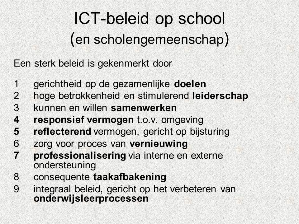 ICT-beleid op school ( en scholengemeenschap ) Een sterk beleid is gekenmerkt door 1gerichtheid op de gezamenlijke doelen 2hoge betrokkenheid en stimulerend leiderschap 3kunnen en willen samenwerken 4responsief vermogen t.o.v.