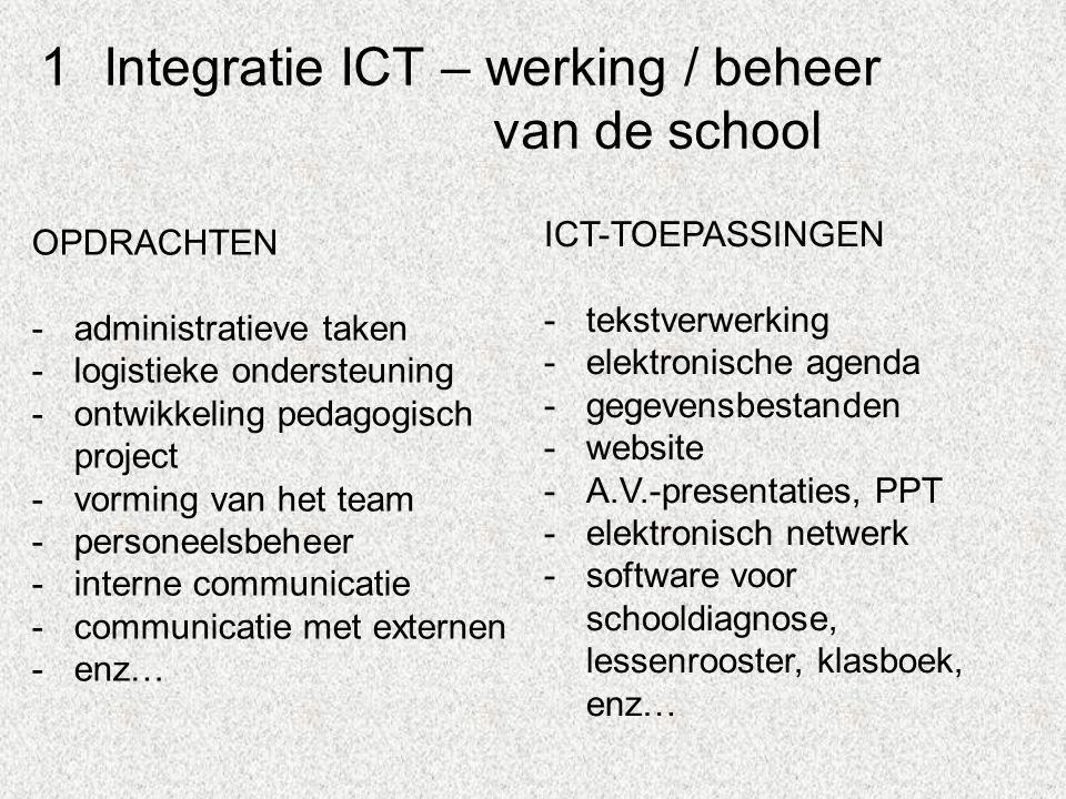 1Integratie ICT – werking / beheer van de school OPDRACHTEN -administratieve taken -logistieke ondersteuning -ontwikkeling pedagogisch project -vorming van het team -personeelsbeheer -interne communicatie -communicatie met externen -enz… ICT-TOEPASSINGEN -tekstverwerking -elektronische agenda -gegevensbestanden -website -A.V.-presentaties, PPT -elektronisch netwerk -software voor schooldiagnose, lessenrooster, klasboek, enz…