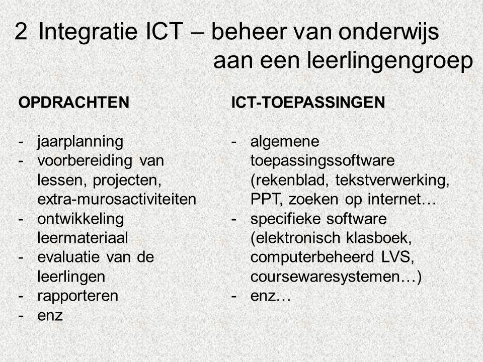 2Integratie ICT – beheer van onderwijs aan een leerlingengroep OPDRACHTEN -jaarplanning -voorbereiding van lessen, projecten, extra-murosactiviteiten