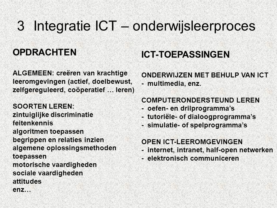 3Integratie ICT – onderwijsleerproces OPDRACHTEN ALGEMEEN: creëren van krachtige leeromgevingen (actief, doelbewust, zelfgereguleerd, coöperatief … le