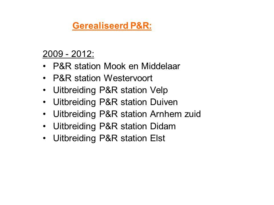 Gerealiseerd P&R: 2009 - 2012: P&R station Mook en Middelaar P&R station Westervoort Uitbreiding P&R station Velp Uitbreiding P&R station Duiven Uitbr
