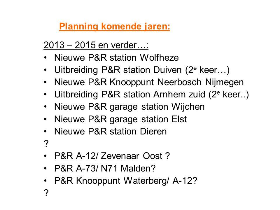 Planning komende jaren: 2013 – 2015 en verder…: Nieuwe P&R station Wolfheze Uitbreiding P&R station Duiven (2 e keer…) Nieuwe P&R Knooppunt Neerbosch
