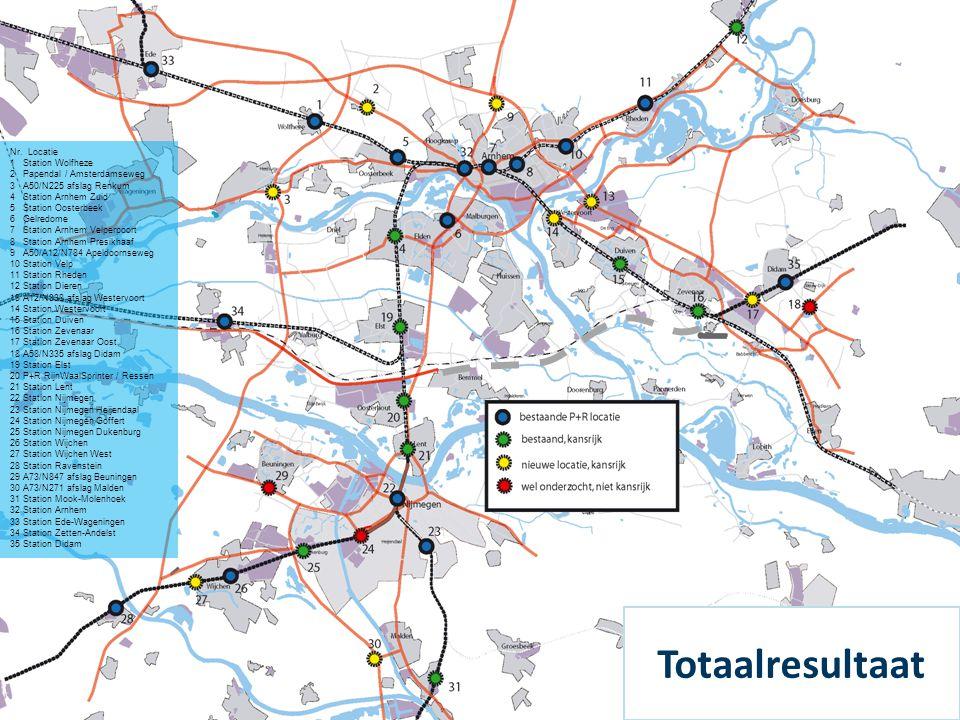Totaalresultaat Nr. Locatie 1 Station Wolfheze 2 Papendal / Amsterdamseweg 3 A50/N225 afslag Renkum 4 Station Arnhem Zuid 5 Station Oosterbeek 6 Gelre