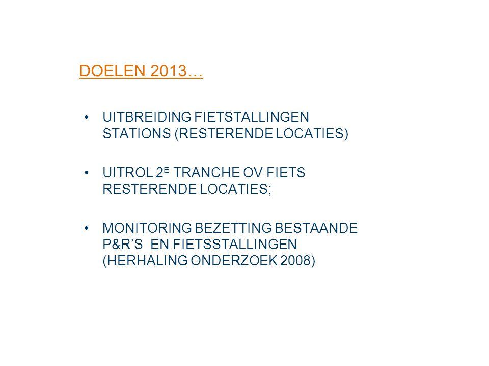 UITBREIDING FIETSTALLINGEN STATIONS (RESTERENDE LOCATIES) UITROL 2 E TRANCHE OV FIETS RESTERENDE LOCATIES; MONITORING BEZETTING BESTAANDE P&R'S EN FIE
