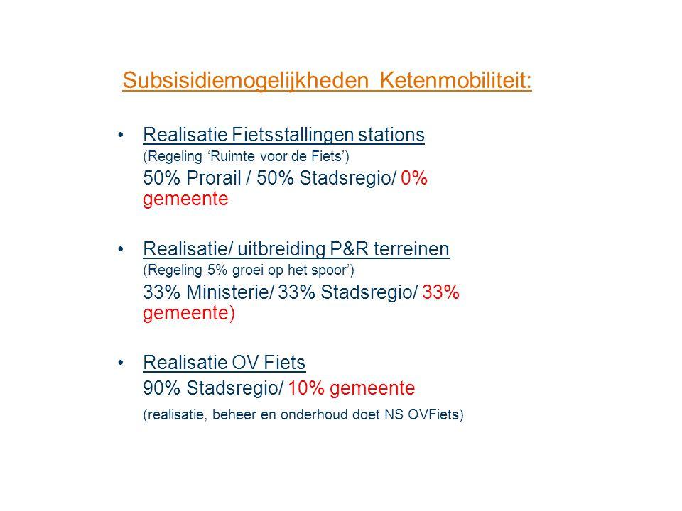 Realisatie Fietsstallingen stations (Regeling 'Ruimte voor de Fiets') 50% Prorail / 50% Stadsregio/ 0% gemeente Realisatie/ uitbreiding P&R terreinen