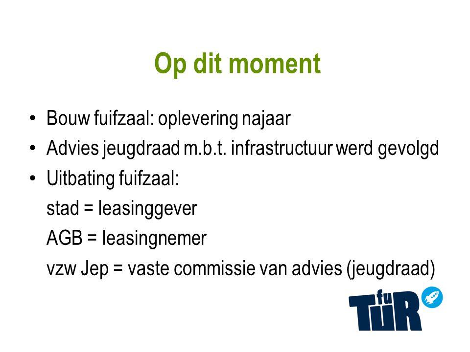 Op dit moment Bouw fuifzaal: oplevering najaar Advies jeugdraad m.b.t.