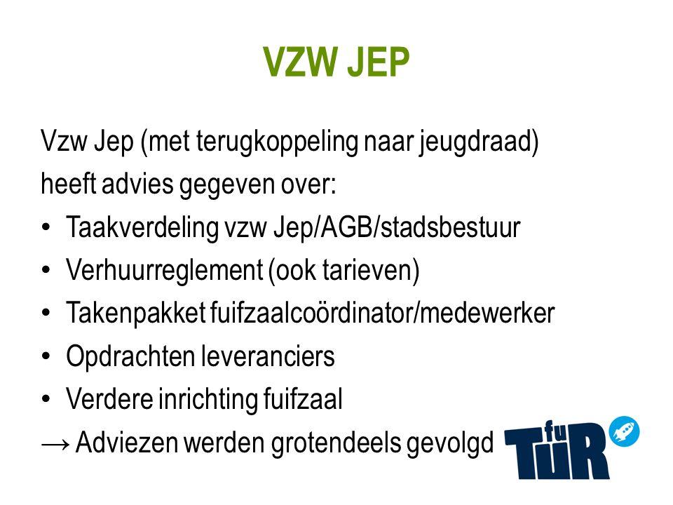 VZW JEP Vzw Jep (met terugkoppeling naar jeugdraad) heeft advies gegeven over: Taakverdeling vzw Jep/AGB/stadsbestuur Verhuurreglement (ook tarieven) Takenpakket fuifzaalcoördinator/medewerker Opdrachten leveranciers Verdere inrichting fuifzaal → Adviezen werden grotendeels gevolgd