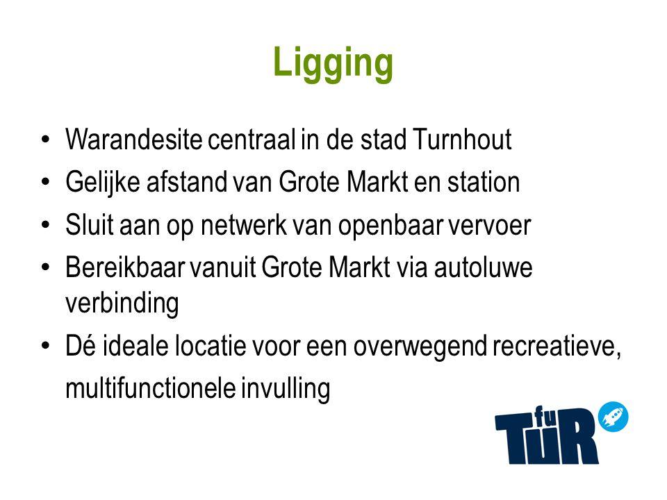 Warandesite centraal in de stad Turnhout Gelijke afstand van Grote Markt en station Sluit aan op netwerk van openbaar vervoer Bereikbaar vanuit Grote Markt via autoluwe verbinding Dé ideale locatie voor een overwegend recreatieve, multifunctionele invulling