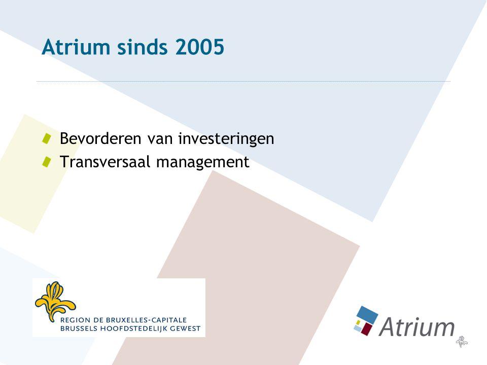 Atrium sinds 2005 Bevorderen van investeringen Transversaal management