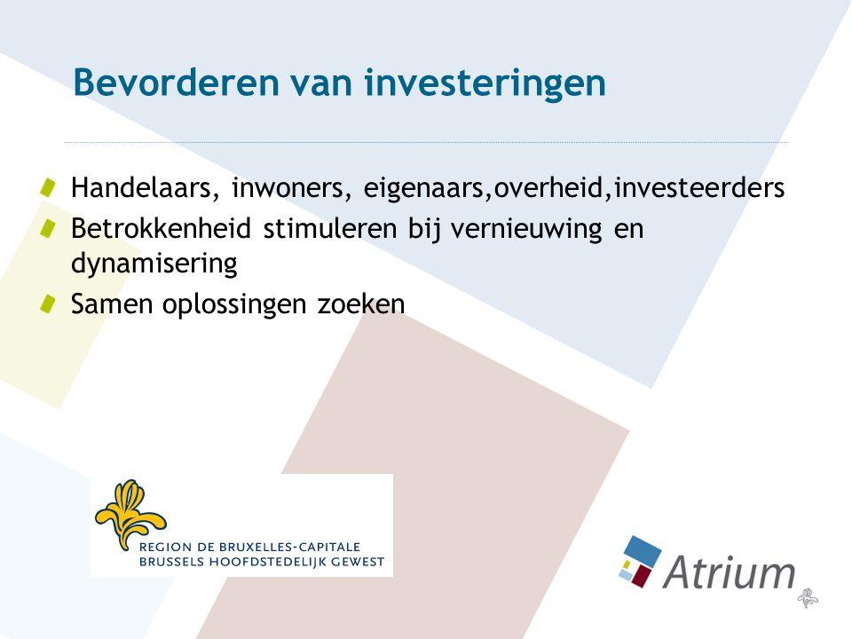 Bevorderen van investeringen Handelaars, inwoners, eigenaars,overheid,investeerders Betrokkenheid stimuleren bij vernieuwing en dynamisering Samen oplossingen zoeken