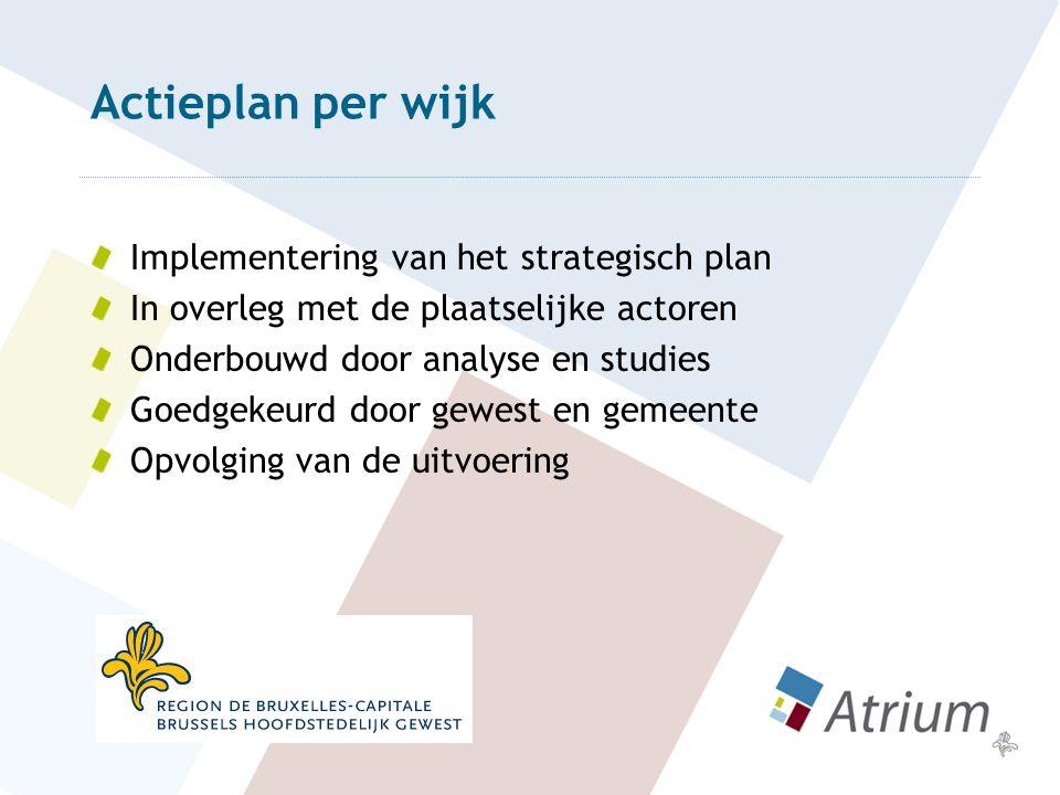 Actieplan per wijk Implementering van het strategisch plan In overleg met de plaatselijke actoren Onderbouwd door analyse en studies Goedgekeurd door gewest en gemeente Opvolging van de uitvoering