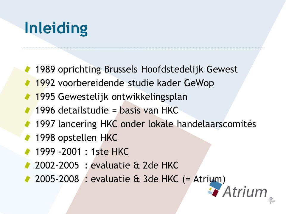 Inleiding 1989 oprichting Brussels Hoofdstedelijk Gewest 1992 voorbereidende studie kader GeWop 1995 Gewestelijk ontwikkelingsplan 1996 detailstudie =