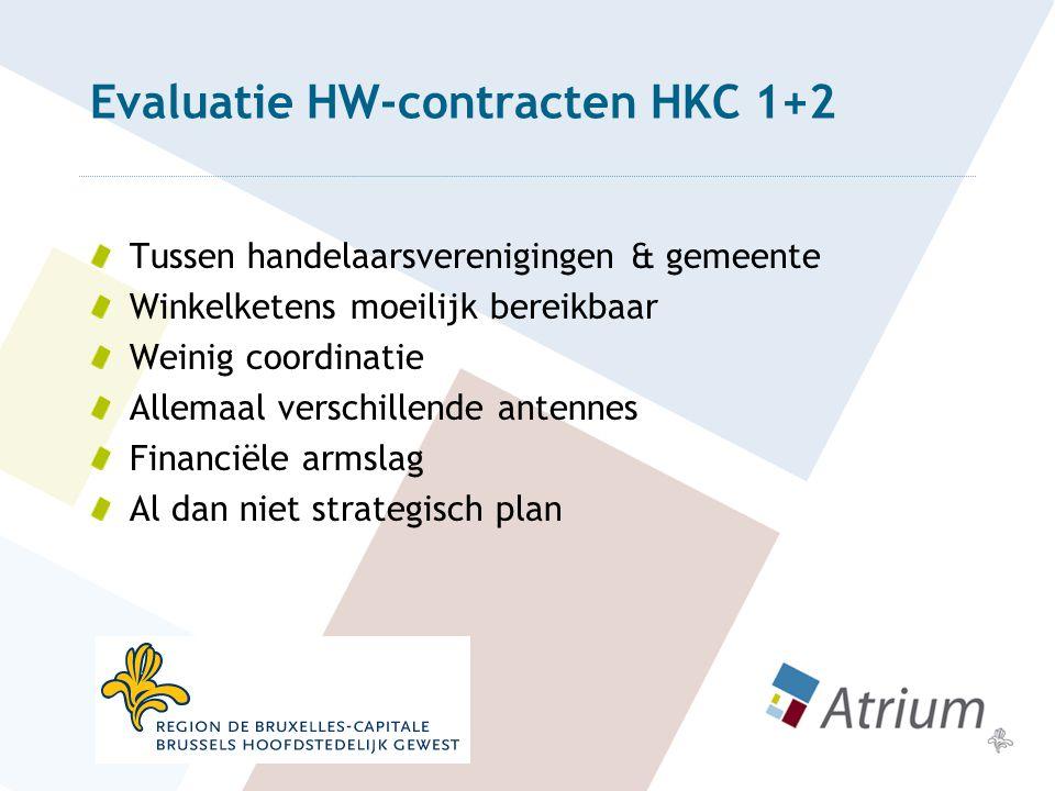 Evaluatie HW-contracten HKC 1+2 Tussen handelaarsverenigingen & gemeente Winkelketens moeilijk bereikbaar Weinig coordinatie Allemaal verschillende antennes Financiële armslag Al dan niet strategisch plan