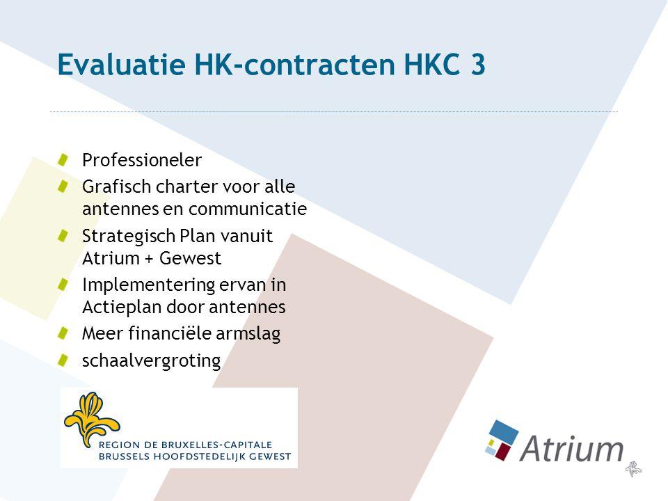 Evaluatie HK-contracten HKC 3 Professioneler Grafisch charter voor alle antennes en communicatie Strategisch Plan vanuit Atrium + Gewest Implementering ervan in Actieplan door antennes Meer financiële armslag schaalvergroting