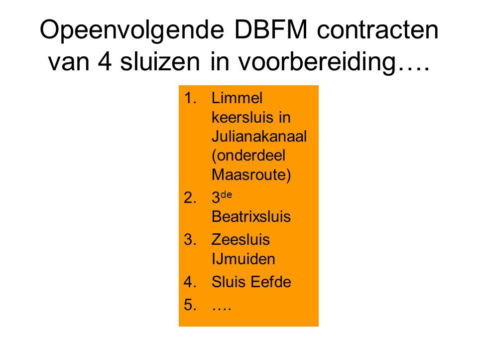 Opeenvolgende DBFM contracten van 4 sluizen in voorbereiding…. 1.Limmel keersluis in Julianakanaal (onderdeel Maasroute) 2.3 de Beatrixsluis 3.Zeeslui