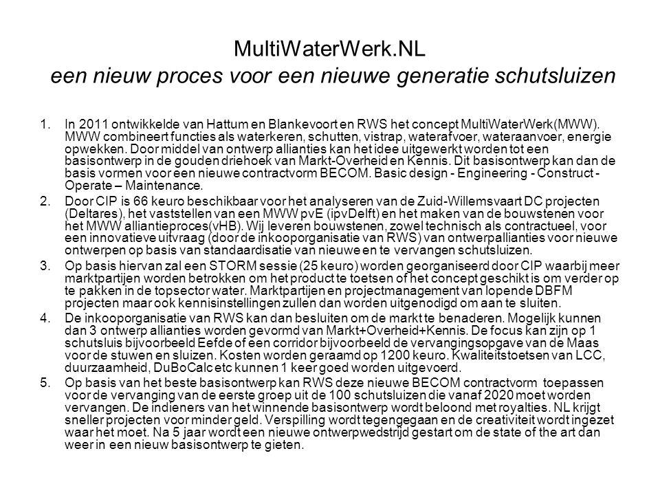 MultiWaterWerk.NL een nieuw proces voor een nieuwe generatie schutsluizen 1.In 2011 ontwikkelde van Hattum en Blankevoort en RWS het concept MultiWate