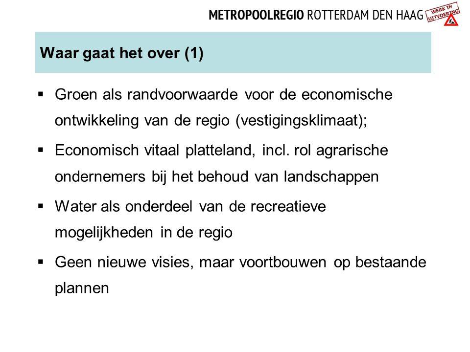 Waar gaat het over (1)  Groen als randvoorwaarde voor de economische ontwikkeling van de regio (vestigingsklimaat);  Economisch vitaal platteland, incl.