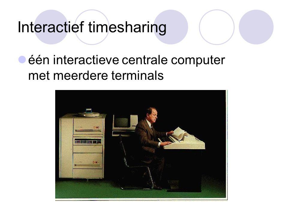 Interactief timesharing één interactieve centrale computer met meerdere terminals