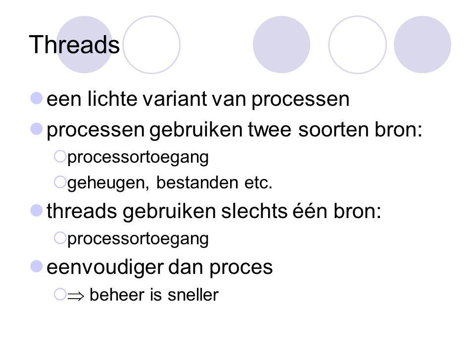 Threads een lichte variant van processen processen gebruiken twee soorten bron:  processortoegang  geheugen, bestanden etc.