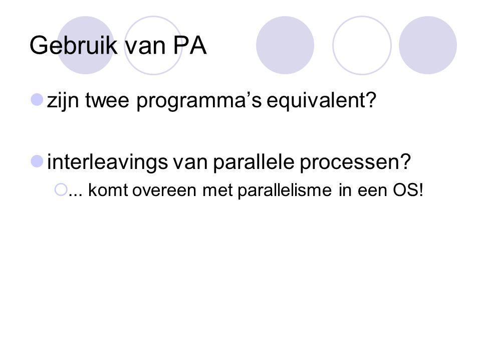 Gebruik van PA zijn twee programma's equivalent. interleavings van parallele processen.