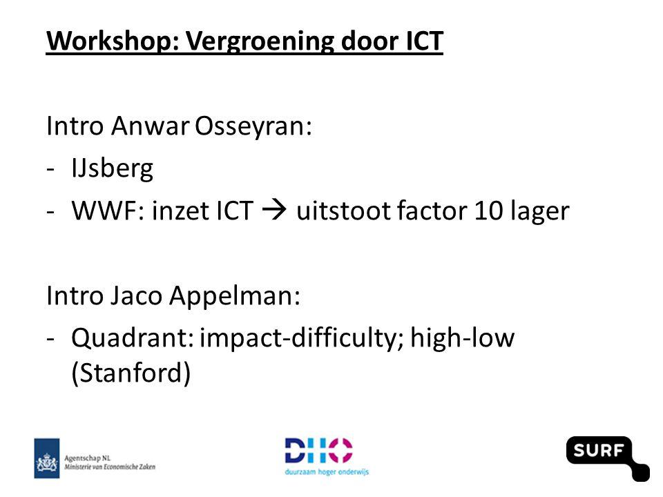 Workshop: Vergroening door ICT Intro Anwar Osseyran: -IJsberg -WWF: inzet ICT  uitstoot factor 10 lager Intro Jaco Appelman: -Quadrant: impact-diffic