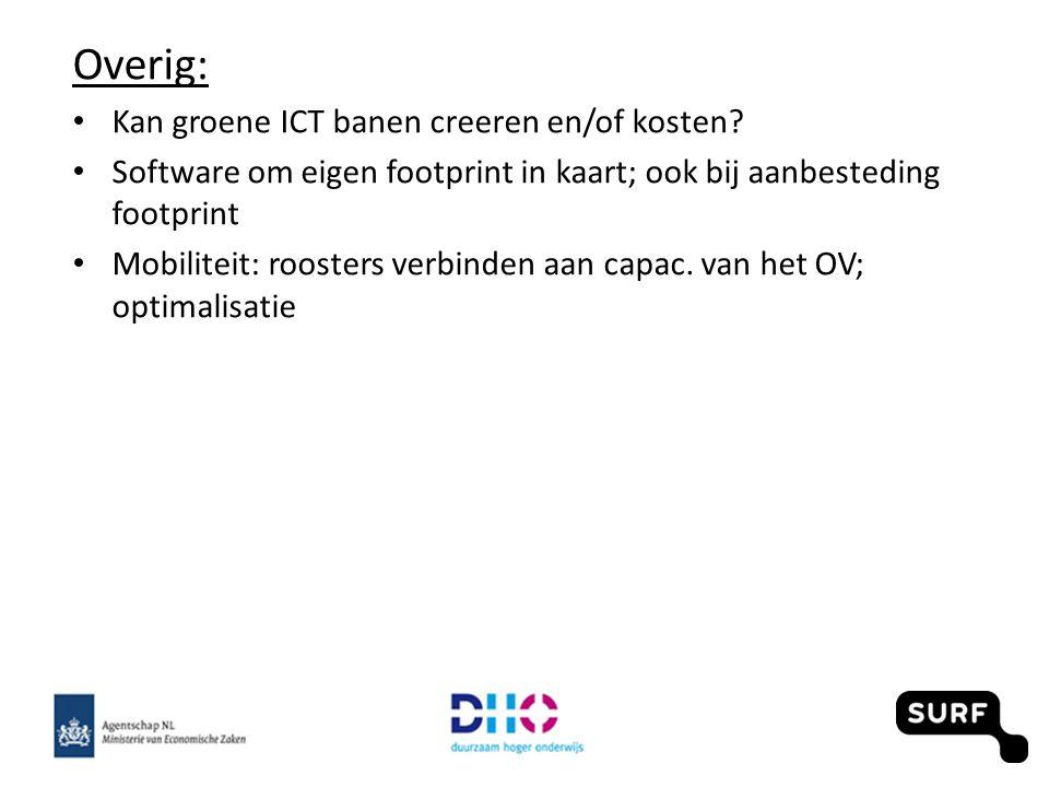 Overig: Kan groene ICT banen creeren en/of kosten? Software om eigen footprint in kaart; ook bij aanbesteding footprint Mobiliteit: roosters verbinden
