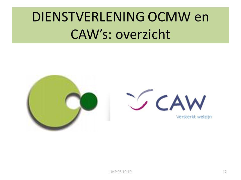 LMP 06.10.1012 DIENSTVERLENING OCMW en CAW's: overzicht