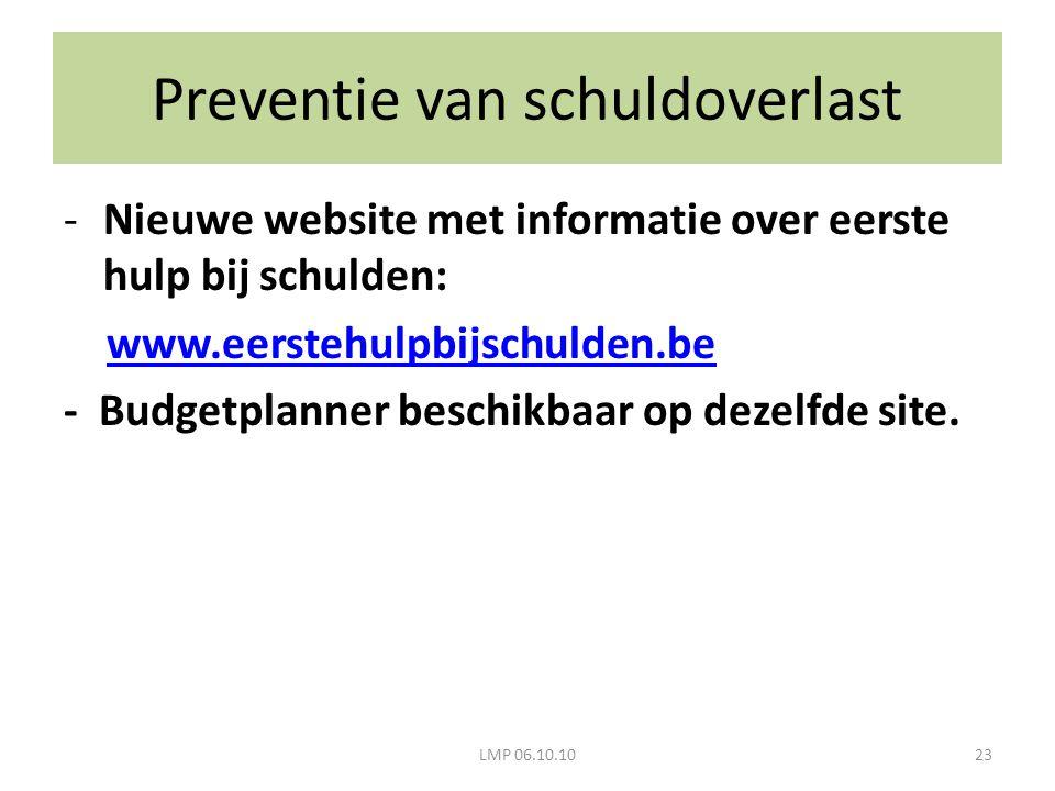 LMP 06.10.1023 -Nieuwe website met informatie over eerste hulp bij schulden: www.eerstehulpbijschulden.be - Budgetplanner beschikbaar op dezelfde site