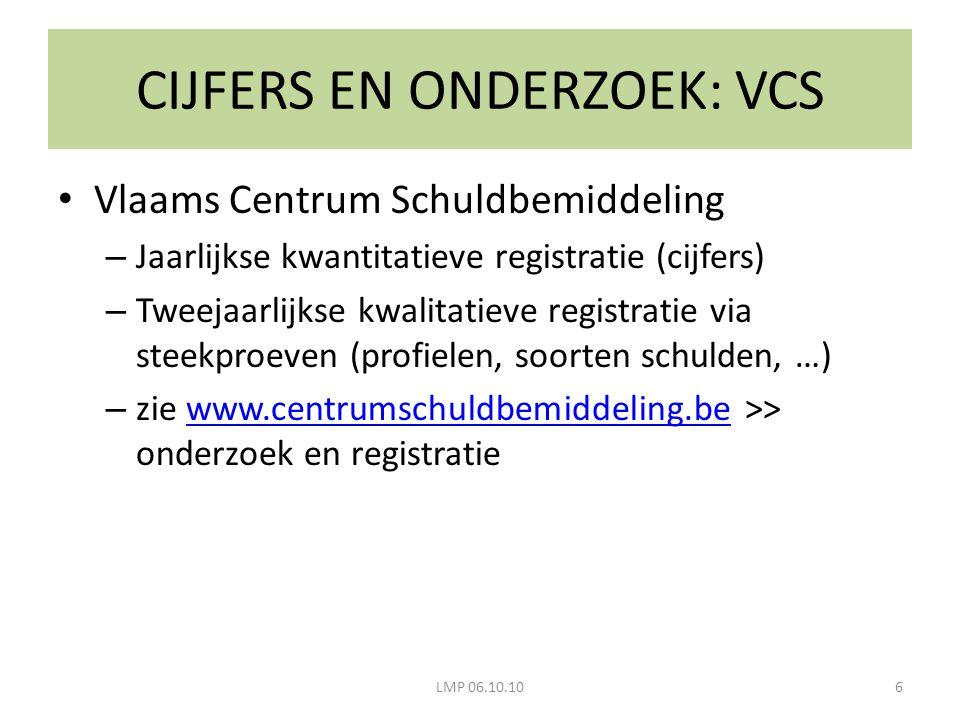 CIJFERS EN ONDERZOEK: VCS LMP 06.10.106 Vlaams Centrum Schuldbemiddeling – Jaarlijkse kwantitatieve registratie (cijfers) – Tweejaarlijkse kwalitatiev