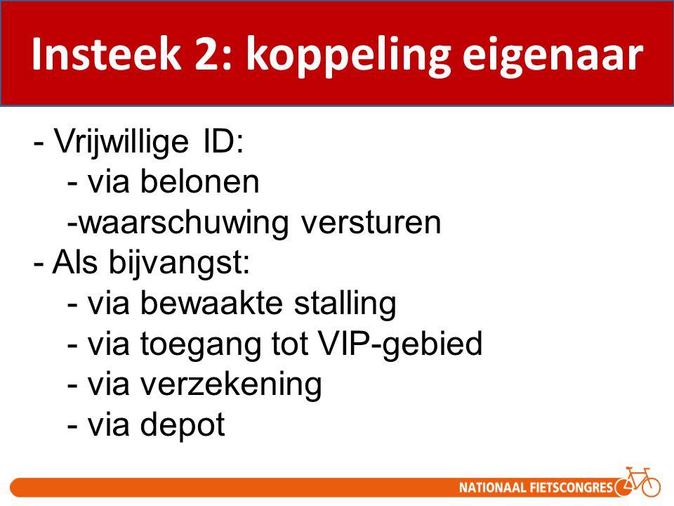 - Vrijwillige ID: - via belonen -waarschuwing versturen - Als bijvangst: - via bewaakte stalling - via toegang tot VIP-gebied - via verzekening - via
