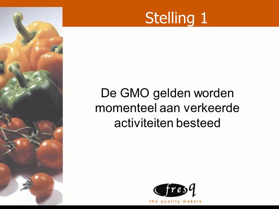 t h e q u a l i t y m a k e r s Stelling 1 De GMO gelden worden momenteel aan verkeerde activiteiten besteed
