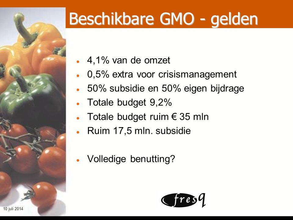 t h e q u a l i t y m a k e r s 10 juli 2014 Beschikbare GMO - gelden 4,1% van de omzet 0,5% extra voor crisismanagement 50% subsidie en 50% eigen bijdrage Totale budget 9,2% Totale budget ruim € 35 mln Ruim 17,5 mln.