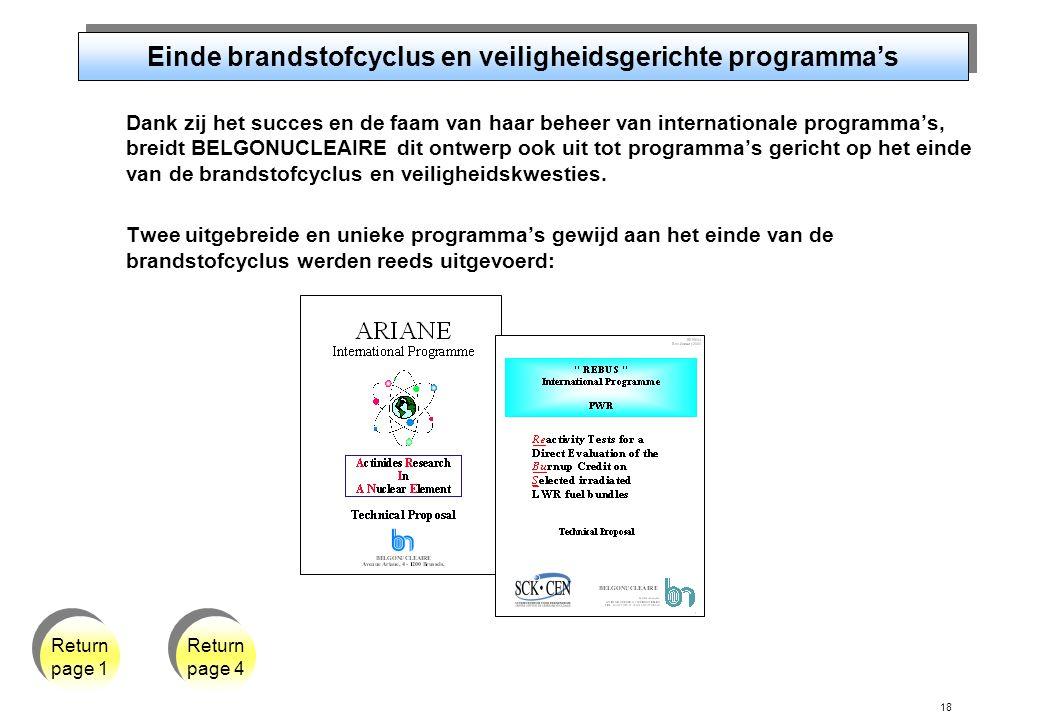 18 Einde brandstofcyclus en veiligheidsgerichte programma's Dank zij het succes en de faam van haar beheer van internationale programma's, breidt BELGONUCLEAIRE dit ontwerp ook uit tot programma's gericht op het einde van de brandstofcyclus en veiligheidskwesties.