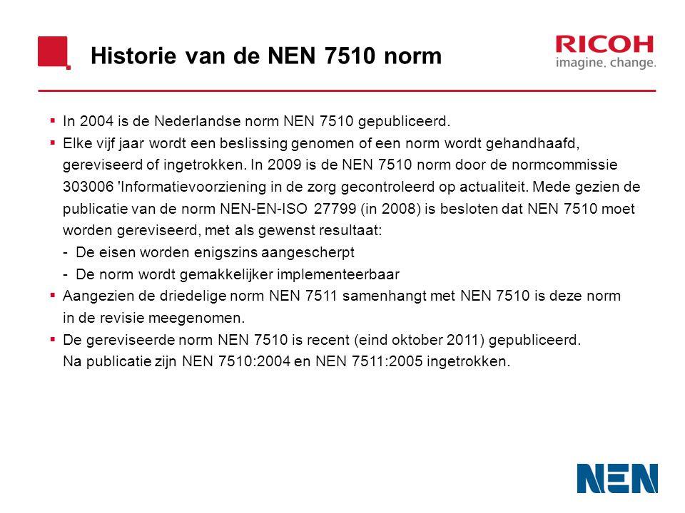 Historie van de NEN 7510 norm  In 2004 is de Nederlandse norm NEN 7510 gepubliceerd.