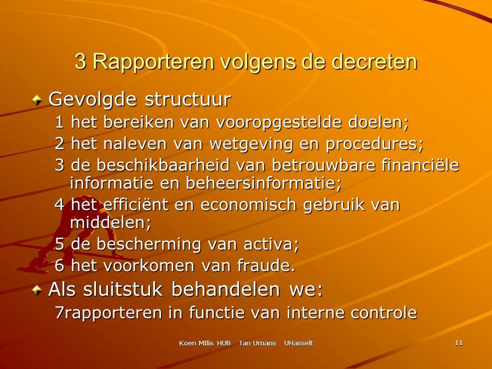 Koen MIlis HUB Jan Umans UHasselt 11 3 Rapporteren volgens de decreten Gevolgde structuur 1 het bereiken van vooropgestelde doelen; 2 het naleven van