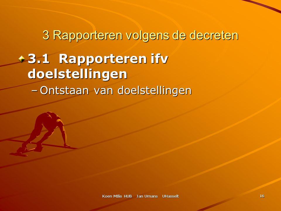 Koen MIlis HUB Jan Umans UHasselt 16 3 Rapporteren volgens de decreten 3.1 Rapporteren ifv doelstellingen –Ontstaan van doelstellingen