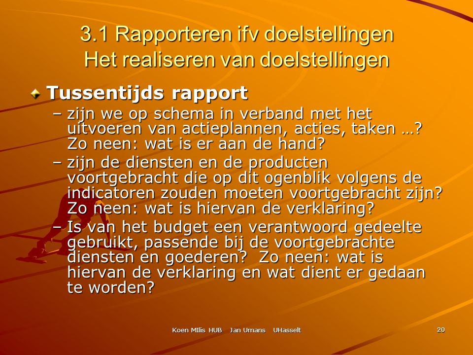 Koen MIlis HUB Jan Umans UHasselt 20 3.1 Rapporteren ifv doelstellingen Het realiseren van doelstellingen Tussentijds rapport –zijn we op schema in ve